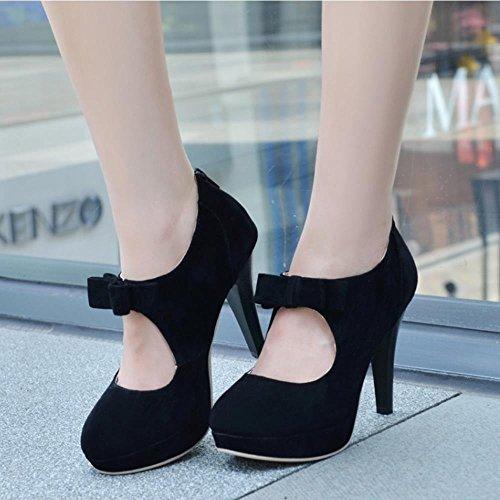 Shoes Bombas Tacon Corbata Court 688 Mujer Zapatos With COOLCEPT Negro De Plataforma De Moda Aguja Mono Bootie Fiesta wBqIWvX