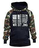 Interstate Apparel Men's Wrestling American Flag Black/Camo Raglan Baseball Hoodie Small Black