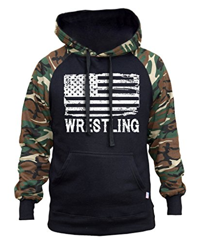 Interstate Apparel Men's Wrestling American Flag Black/Camo Raglan Baseball Hoodie Small Black by Interstate Apparel