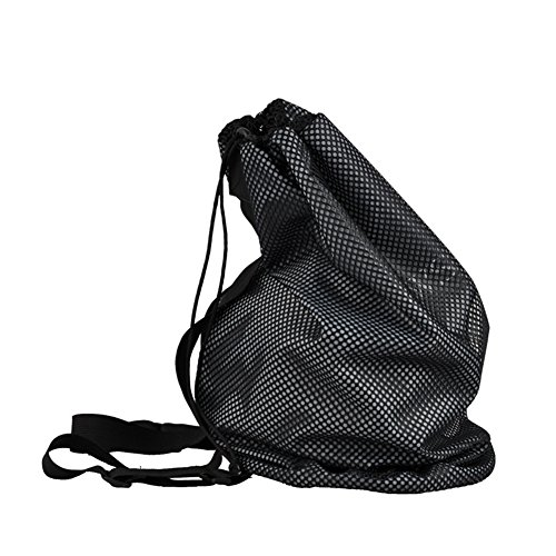 Sports Ball Bag Drawstring Mesh with Adjustable Shoulder Strap - Large Sports Collectible Equipment Travel Bags (22 x 11 inches), Perfect for Basketball/Tennis/Pingpong/Football/Ball Storage, Black by JOYBI