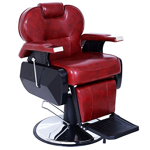 ARTIST HAND Black All Purpose Hydraulic Recline Barber Chair Salon Beauty Spa Shampoo Styling Chair for Beauty Shop (1 PCS, Red)