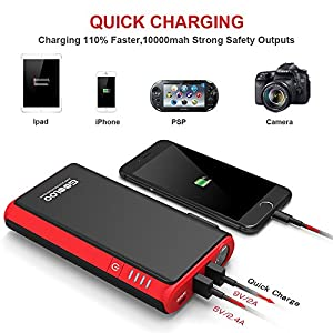 Quick Charge In & Out, GOOLOO 450A Peak Car Jump Starter (Up to 4.5L Gas or 2.5L Diesel Engine) Power Pack 12V Auto Battery Booster Portable Phone Charger, Built-in LED Light, Black/Red Black/Red