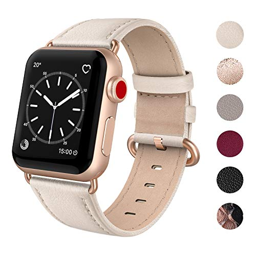 SWEES Leather Band Compatible for iWatch 38mm 40mm, Genuine Leather Replacement Strap Rose Gold Buckle Compatible iWatch Apple Watch Series 4 Series 3 Series 2 Series 1, Sports & Edition Women, Beige
