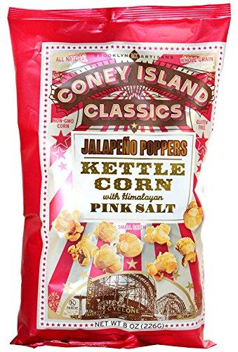 Coney Island Classics Himalayan Pink Salt Jalapeño Poppers Kettle Corn Gluten Free Non GMO Vegan Popcorn 8 Oz Large Bag (12 Count)