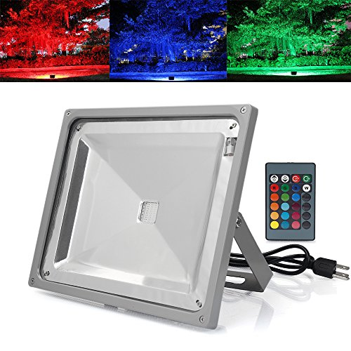 LVJING 50W RGB Led Flood Light Outdoor with Remote Contro...