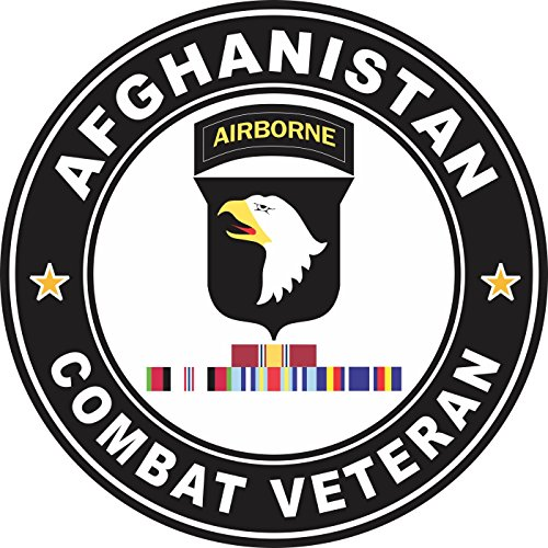 Military Vet Shop Magnet US Army 101st Airborne Division Afghanistan with GWOT Ribbons Combat Veteran Vinyl Magnet Car Fridge Locker Metal Decal 3.8