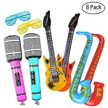 Yojoloin Súper Gigante 8 UNIDS Jumbo Inflables Guitarra Saxofón Micrófono Gafas Globos Instrumentos Musicales Accesorios para Artículos de Fiesta ...