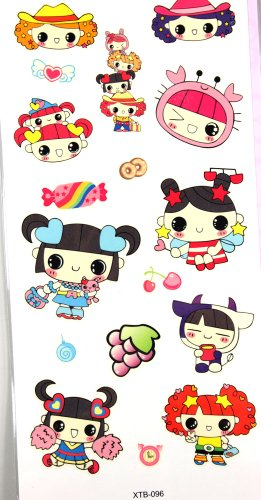 GGSELL YiMei Waterproof tattoo sticker color animation cartoon pretty girl and food (Pretty Cartoon Girls)