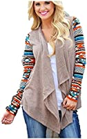 Lollipop's Women's Geometric Print Drape Front Knit Cardigan