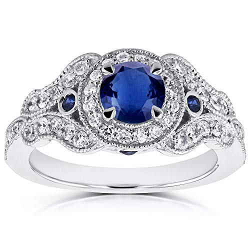 Antique Milgrain Sapphire and Diamond Engagement Ring 1 Carat (ctw) in 14k White Gold, Size 7.5