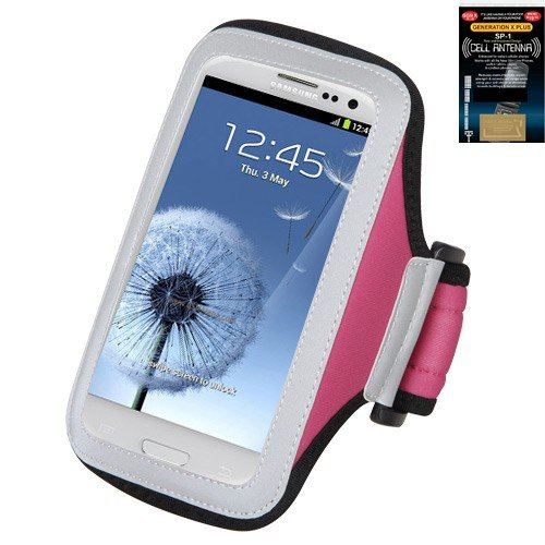 Premium Sport Armband Case for LG Genesis - Pink + Cell Phone Antenna Booster