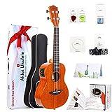 """AKLOT 26 Electric ukulele Electric Acoustic Tenor Ukulele Solid Mahogany Ukelele 26"""" Beginners Starter Kit with Free Online Courses and Ukulele Accessories (AKET26), Electric 26: more info"""