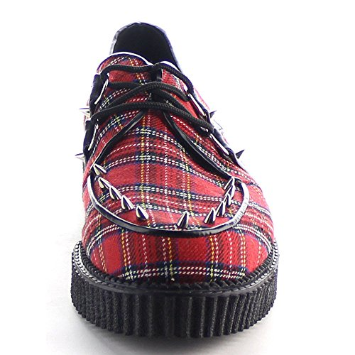 Demonia Red 603 Fabric Plaid CREEPER Hrznw1EPqH