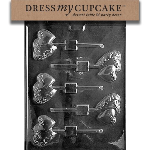 Dress My Cupcake DMCV101 Chocolate Candy Mold, Small Double Heart Lollipop, Valentine's Day