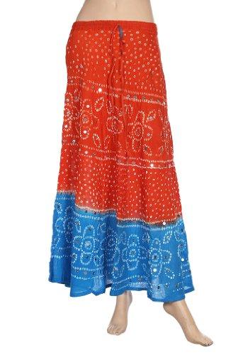 Designer cotton Bandhej bandhini long Skirt Women's Skirt's India Orange & blue by Rangsthali