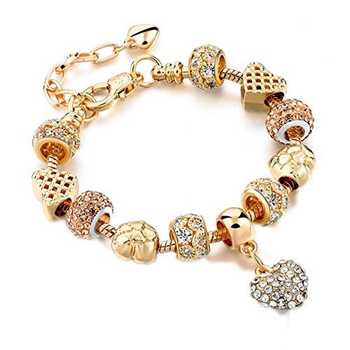 Crystal Heart Charm & Bangles Gold Bracelets For Women Jewellery Pulseira Feminina Sbr160056 Imitation Rhodium (Imitation Rhodium Plated)