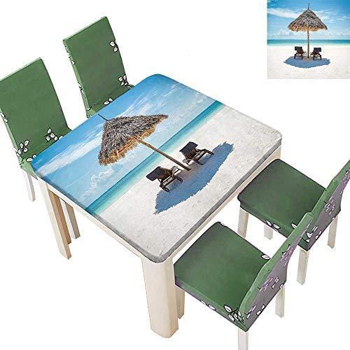Leather Zanzibar (Printsonne Polyester Tablecloth Sun Loungers Fac The Ocean Thatched Umbrella Zanzibar Turquoise Easy Care Spillproof 50 x 50 Inch (Elastic Edge))