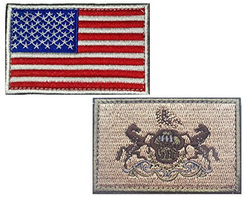 """HFDA 2 piece US Flag and KB PENNSYLVANIA Flag Patches Velcro Morale Patches Cloth Fabric Badges Tactical Patches for Cap Jackets (2"""" x3"""", Color 3)"""