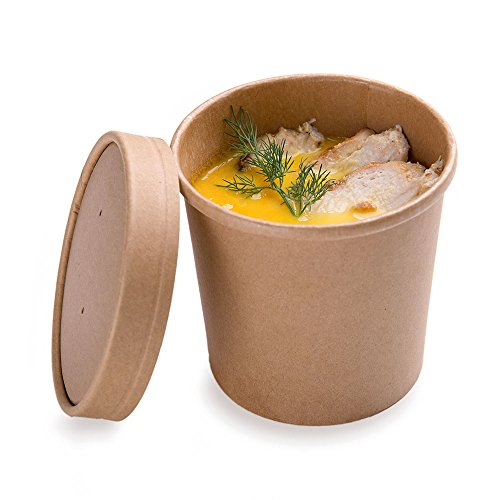 200-CT Disposable 12-OZ Bio Soup Container - Medium Kraft Soup Cups: Perfect for Cafes - Eco-Friendly Recyclable Paper Cup - Wholesale Takeout Food Container - Lid Available - Restaurantware