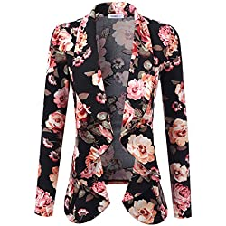 Doublju Classic Draped Open Front Blazer For Women With Plus Size FlowerBlack X-Large
