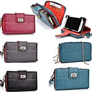 PU leather Universal ladies clutch with phone shell/internal card slots- Peacock Blue- Compatible fit with Sony Xperia Ion LTE LT28i