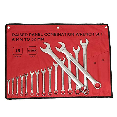 ABN | Raised Panel Combination Wrench Set Metric Wrench Set Metric Wrenches Set 6mm-32mm 16pc Combination Wrenches Set ()