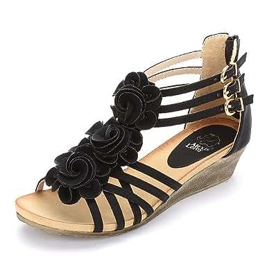 New Arrival Women Fashion Summer Wedge Heel T-straps Buckle Sandals