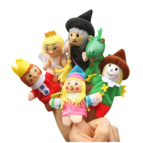 (PANDA SUPERSTORE [Prince&Princess] 6Pcs Finger Puppets Story Telling Puppets for Kids 0-3Years)