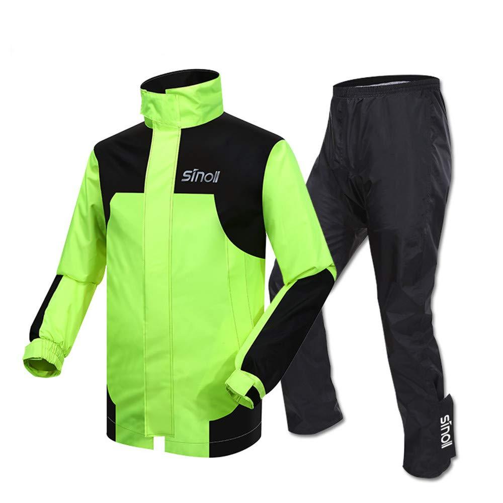 レインコートセット サイクリングレインスーツレインジャケットレインコートパンツレインウェアオートバイレインコートアダルトシングルライディングスプリットレインコートスーツ防水 サイクリング用、ハイキング用、アウトドアスポーツ用 (色 : Black+Green, サイズ : L) B07L64RFJ7 Black+Green Large