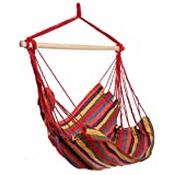 Kaluo Cotton Fabric Hanging Rope Hammock Chair Swing Seat, Max.250lbs Capacity (4)