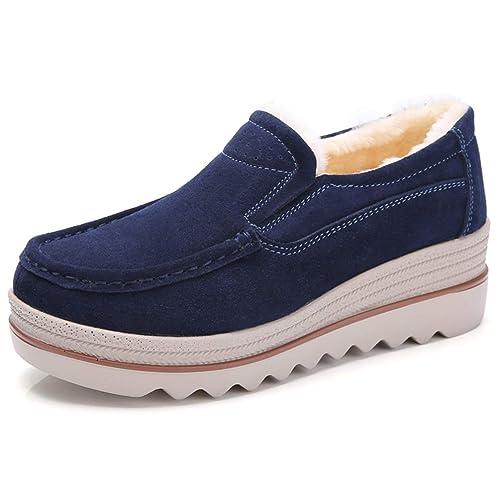 Las Mujeres Plana Suave cálido Dedo del pie Ronda de Piel de tacón Zapatos Mocasines: Amazon.es: Zapatos y complementos