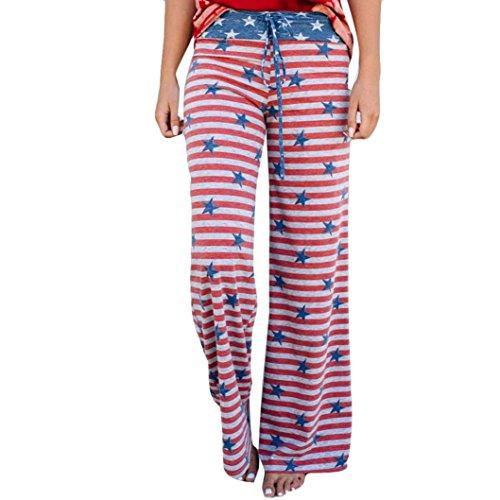 2018 Drawstring Pants,Women Stripe Star Print Wide Leg Leggings Trousers - Stripe Flower Socks