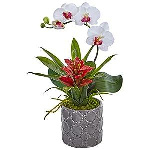 Nearly Natural Mini Phalaenopsis Orchid Silk Arrangement, White 32