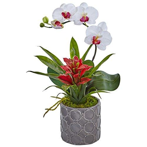 Nearly Natural Mini Phalaenopsis Orchid Silk Arrangement, White