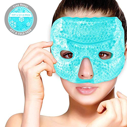 Hot Cold Therapy Facial Eye Mask Gel Beads Filling with Cloth Backing and Adjustable Elastic Strap, Free Round Cold Pack Included - Reduce Puffy Eyes, Bag Under Eyes, Dark Circles and Sinus Pressure