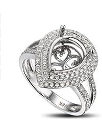 8x10mm Pear Shape 14k White Gold Diamond Semi Mount Ring Settings