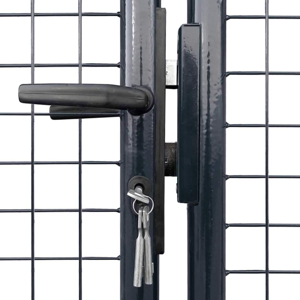 Festnight Cancello Recinzione da Giardino Doppio Metallo in Acciaio Zincato Grigio 289x100cm