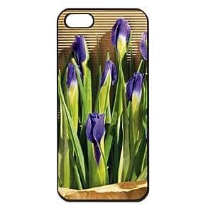 CaseSuper Irises Designs Flowers Apple iPhone 5S Seamless Case (Black)