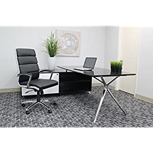 Boss Office Products CaressoftPlus Executive Chair, Traditional, Metal Chrome Finish