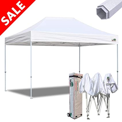 finest selection ee63e 375cd Eurmax 10x15 Ft Premium Ez Pop up Canopy Instant Canopies Shelter Outdoor  Party Canopy Gazebo Commercial Grade with Roller Bag (White)