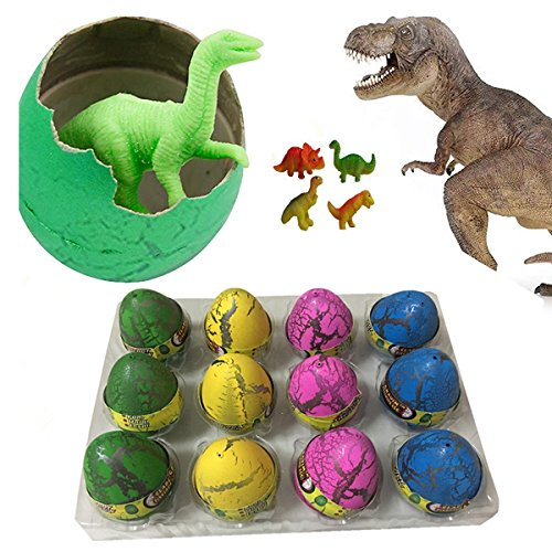 Super Large Size - 12pcs Crack Easter Dinosaur Eggs Hatching Toy Growing Pet with Mini Toy Dinosaur Figures (Toys In Eggs)