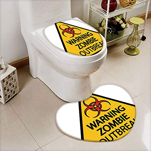 2 pcs Toilet Cover Set Non-Slip mat Bathroom Non-Slip mat,Outbreak Sign Cemetery Infection Halloween Graphic,3D Print Heart Shape Toilet seat Cushion Customized Fashion]()
