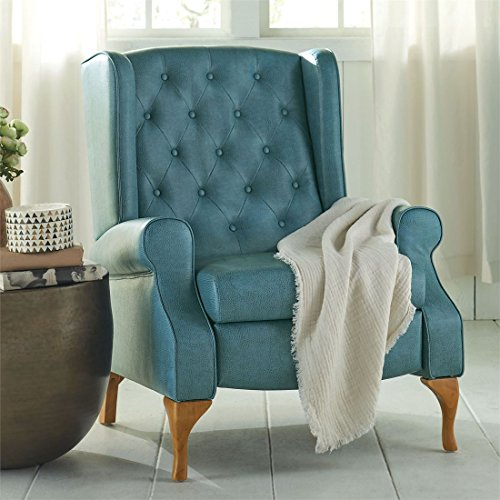 Brylanehome Queen Anne Style Tufted Wingback Recliner (Blue Haze,0) (Leather Sofa Set Clearance)
