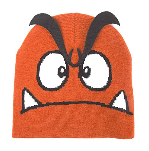 Nintendo Beanie Hat Goomba 3D Eyebrows Official Gamer Brown -