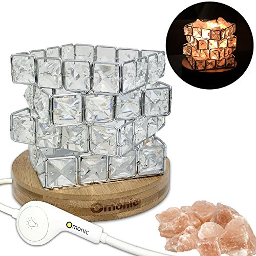 Maymii.Home Omonic Luxury Mosic Glass Crystal Basket Cube Fire Bowl Pink Himalayan Salt Lamp Crystal Chunks Table Desk Lamp Light Night Light Lights Touch Dimmer Switch Control with Bamboo Base by MAYMII·HOME