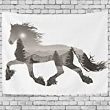 ALAZA Artistic Animal Silhouette Horse Landscape Nature Forest Tree Sunrise Montain Tapestry Wall Hanging Artwork Light-weight Polyester Fabric Cottage Dorm Wall Art Home Decoration 60x40 Inches