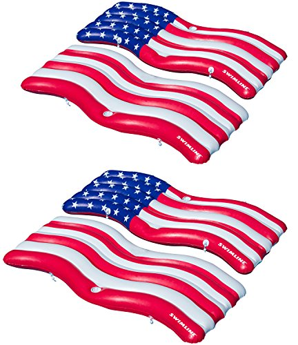 Swimline Inflatable Americana Flag Swimming Pool and Lake Connector Mat (4 Pack) ()