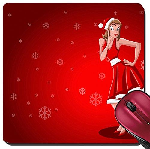 Liili Suqare Mousepad 8x8 Inch Mouse Pads/Mat IMAGE ID: 16572331 A beautiful cartoon pin up girl dressed like Santa Claus