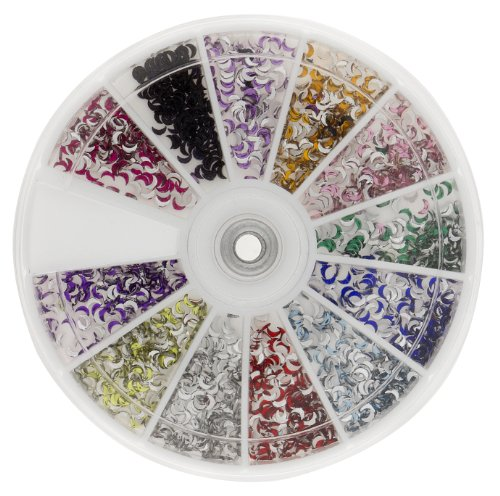 - Premium MASH 1200 Piece 12 Color Nail Art Nailart 3D Design Moon Shape Rhinestones