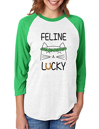 Feline Lucky Irish Cat St Patrick's Day 3/4 Women Sleeve Baseball Jersey Shirt Medium Green/White